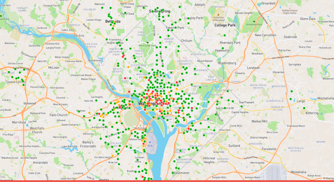 Bikeshare Station map 8.30.2018 after evening rush hour